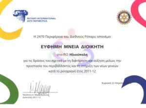 Award to the Rotary Club of Ilioupolis